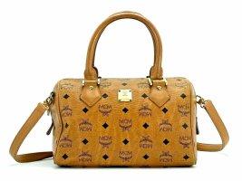 MCM Tasche Umhängetasche Cognac Gold Boston Bag Handtasche Henkeltasche