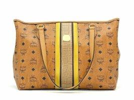 MCM Top Zip Shopper Bag Tasche Handtasche Henkeltasche Medium Cognac Stripe