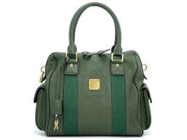 MCM Vintage Leder Henkeltasche Dunkelgrün Gold + Schloss +Key Shopper Bag Tasche