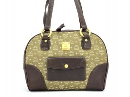 MCM Vintage Leder Nylon Henkeltasche Grün Braun Gold Shopper Bag Tasche