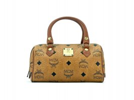 MCM Vintage Micro Boston Bag Cognac Gold Tasche Henkeltasche Mini Handtasche
