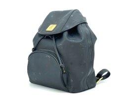 MCM vintage Rucksack Backpack schwarz Nylon Leder Tasche Shopper black