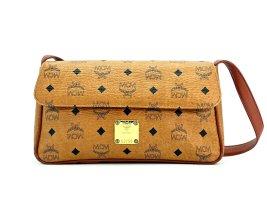 MCM Vintage Schultertasche Visetos Handtasche Tasche Bag Cognac Gold