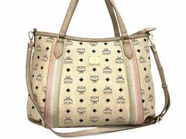 MCM Visetos 2Way Shopper Bag Elfenbein / Ivory Schultertasche Tasche Medium Size