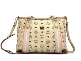 MCM Visetos 2Way Shopper Bag Elfenbein Ivory Schultertasche Tasche Small