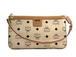 MCM Visetos Etui Pochette Kosmetiktasche Small Bag Elfenbein Tasche LogoPrint