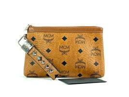 MCM Visetos Etui Pochette mini Bag Kosmetiktasche small Cognac Silber Tasche