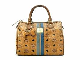 MCM Visetos Handtasche Boston Bag 25 + Anhänger Cognac Tasche Henkeltasche Small
