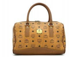 MCM Visetos Handtasche Boston Bag 30 Cognac Tasche Henkeltasche Medium