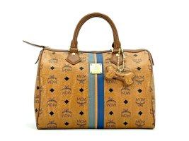 MCM Visetos Handtasche Boston Bag 30 Cognac Tasche Henkeltasche Medium LogoPrint