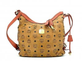 MCM Visetos Hobo Bag Medium Cognac Gold Schultertasche Shopper Tasche