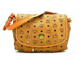 MCM Visetos Kordelzug Tasche Schultertasche Bag Cognac Medium LogoPrint Orange