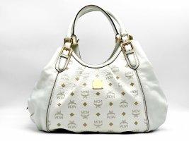 MCM Visetos Leder Henkeltasche Shopper Bag Weiss Gold Tasche Logo Print