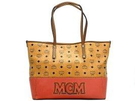 MCM Visetos Leder Shopper Bag Medium Tasche Handtasche Henkeltasche Cognac Red