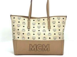 MCM Visetos Leder Shopper Bag Medium Tasche Handtasche Henkeltasche Elfenbein