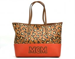 MCM Visetos Leder Shopper Bag Medium Tasche Handtasche Henkeltasche LeoPrint