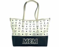 MCM Visetos Leder Shopper Bag Medium Tasche Handtasche Henkeltasche Weiss