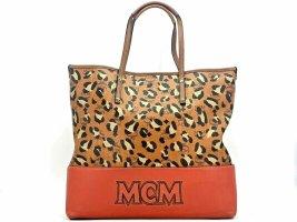 MCM Visetos Leder Shopper Bag Tasche Handtasche Henkeltasche LeoPrint Cognac Rot