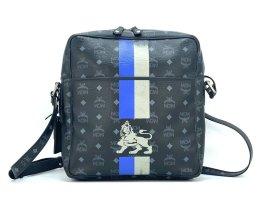 MCM Visetos Messenger Tasche Handtasche Umhängetasche Lion Crossbody Bag Schwarz