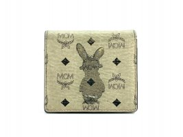 MCM Visetos Mini Gelbbörse Scheckkartenetui Cardholder Ivory Rabbit Etui Small
