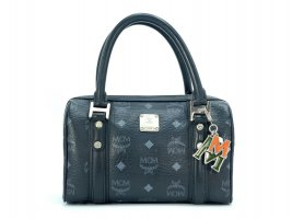 MCM Visetos Mini Handtasche Boston Bag Visetos Black Tasche Henkeltasche Small