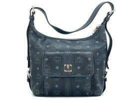 MCM Visetos Schultertasche Bag Schwarz Black Medium LogoPrint Tasche Shopper