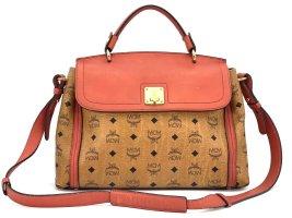 MCM Visetos Schultertasche Cognac Shopper Business Bag Cognac Rot Gold Medium