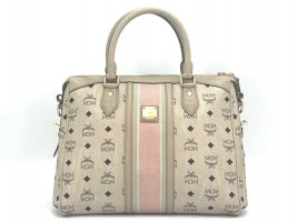MCM Visetos Shopper Bag Elfenbein / Ivory Henkeltasche Tasche Medium Size