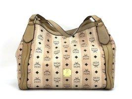 MCM Visetos Shopper Bag Elfenbein Nude Henkeltasche Leder Tasche Ivory