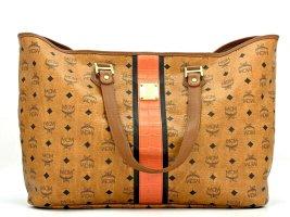 MCM Visetos Shopper Bag Large Big Beach Bag Strandtasche Cognac LogoPrint