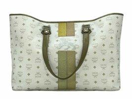 MCM Visetos Shopper Bag Large Big Beach Bag Strandtasche Weiß Silber Lion Logo