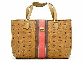 MCM Visetos Shopper Bag Tasche Handtasche Henkeltasche Medium Cognac Stripe