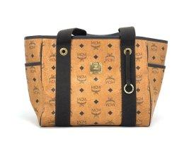 MCM Visetos Shopper Tasche Schultertasche Bag Cognac Braun Gold Henkeltasche