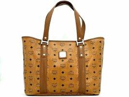 MCM Visetos Shopper Tasche Schultertasche Bag Cognac Henkeltasche Logo Print