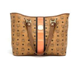 MCM Visetos Shopper Tasche Schultertasche Bag Cognac Logo Print Henkeltasche