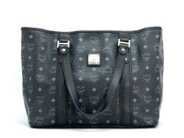 MCM Visetos Shopper Tasche Schultertasche Bag schwarz silber Henkeltasche