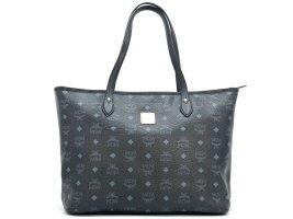 MCM Visetos Shopper Tasche Schultertasche Bag schwarz silber Henkeltasche Medium