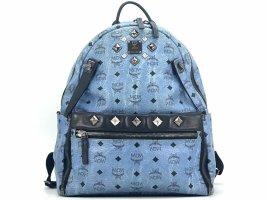 MCM Visetos Stark Rucksack Backpack Blau LogoPrint 2in1 Pochette Medium Size