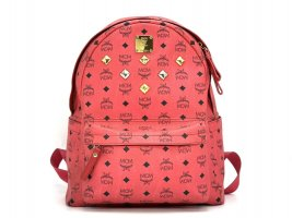 MCM Visetos Stark Rucksack Backpack Medium Coral Visetos Logo Print Bag Tasche