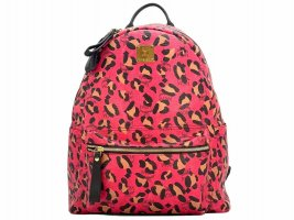 MCM Visetos Stark Rucksack Backpack Medium Pink LeoPrint Logo Print Bag Tasche