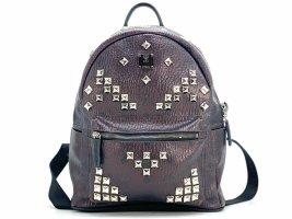 MCM Visetos Stark Rucksack Backpack Small Burgund Schwarz Logo Print Bag