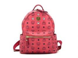 MCM Visetos Stark Rucksack Backpack Small Coral Red Pink Visetos Logo Print Bag