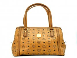MCM Visetos Tasche Cognac Shopper Bag Handtasche Henkeltasche Boston Bag Medium