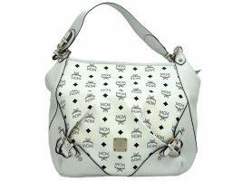 MCM Visetos Tasche Schultertasche Bag Weiss Shopper Large White Handtasche