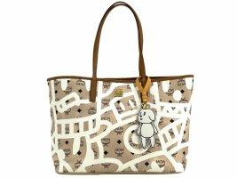 MCM X Eddie Kang Visetos Reversible Shopper Tote Natural Medium Wendeshopper Bag