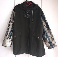Me Jane Damen Übergangs Jacke mit Pailetten XL Olive / Gold Neu