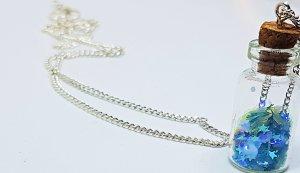 Meerjungfrau Halskette, blaue Flasche Halskette, blau Glitzer Halskette