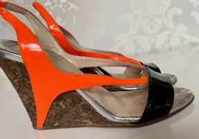 Mega Christian Louboutin Lack High Heels Pumps mit Kork Keilabsatz orange schwarz 37-37,5