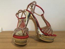 Plateauzool sandalen donkerrood-goud