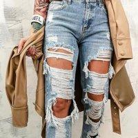 aus Italy Boyfriend Jeans blue cotton